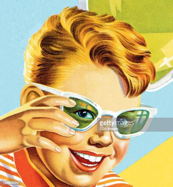 ilustraciones, imágenes clip art, dibujos animados e iconos de stock de niño con gafas - obesidad infantil