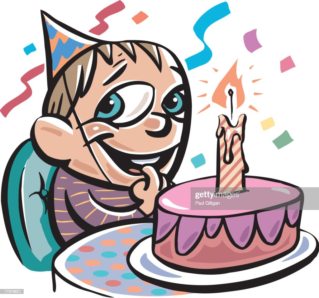 A boy with his birthday cake : Illustration