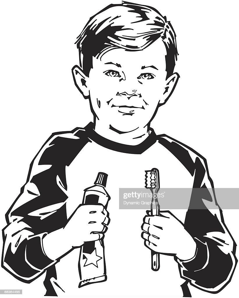 Boy With Toothbrush And Toothpaste The Tools For Healthy Teeth Learn Good Dental Habits Vector