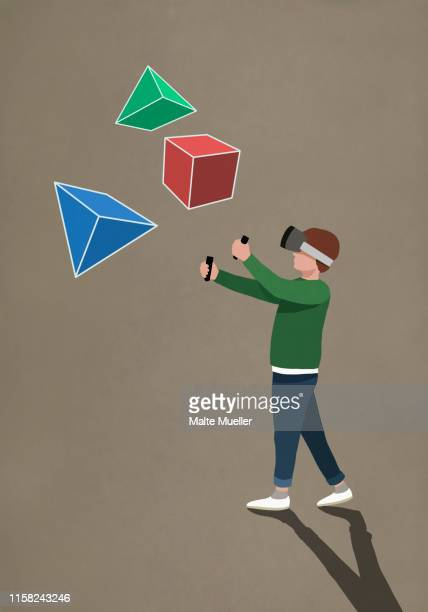 boy with virtual reality simulator glasses looking at 3d geometric shapes - unrecognisable person stock illustrations