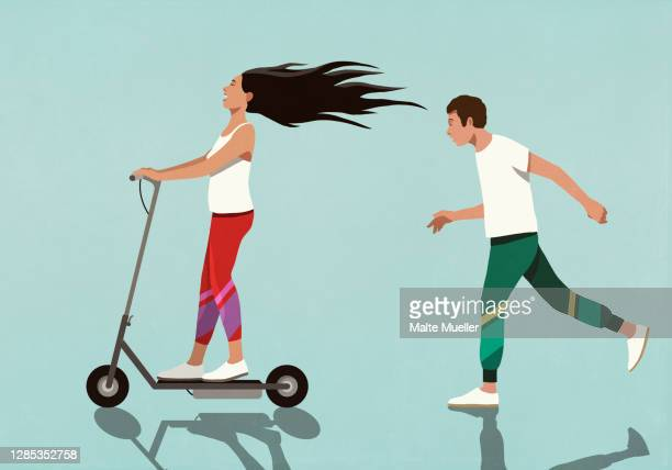 boyfriend running behind carefree girlfriend on electric scooter - transportation stock illustrations