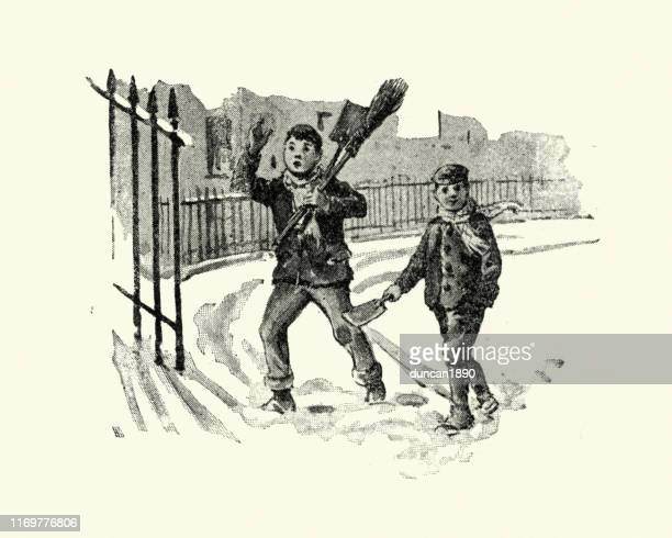 boys clearing snow from steps, victorian, 19th century - snow shovel stock illustrations