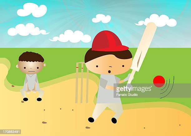boys playing cricket - 証書点のイラスト素材/クリップアート素材/マンガ素材/アイコン素材