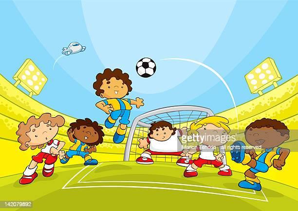 ilustraciones, imágenes clip art, dibujos animados e iconos de stock de boys playing soccer - cancha futbol