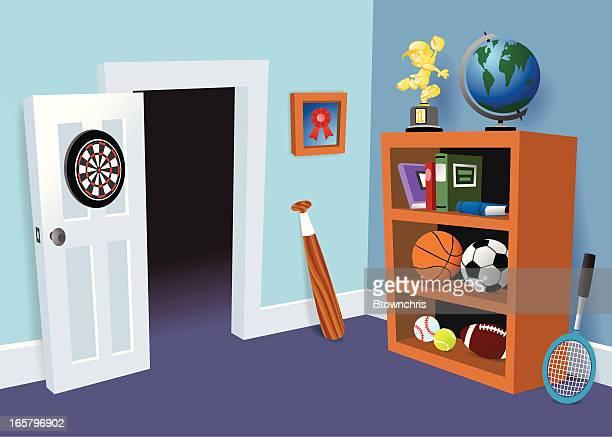 boy's room - bedroom stock illustrations, clip art, cartoons, & icons