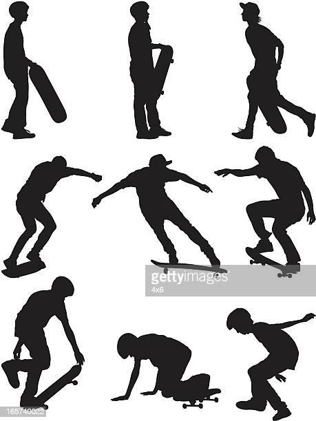 boys skateboarding - sportsperson stock illustrations