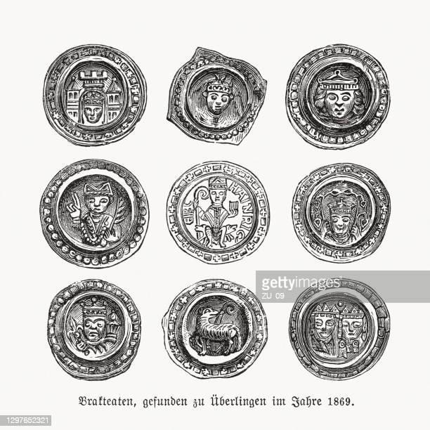 ilustraciones, imágenes clip art, dibujos animados e iconos de stock de bracteates de éberlingen, alemania, encontró 1869, xilografías, publicado en 1893 - arqueología