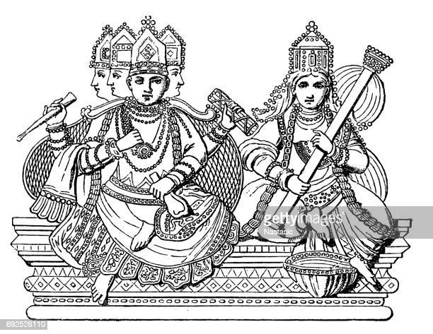 brahma and saraswati - hindu god stock illustrations