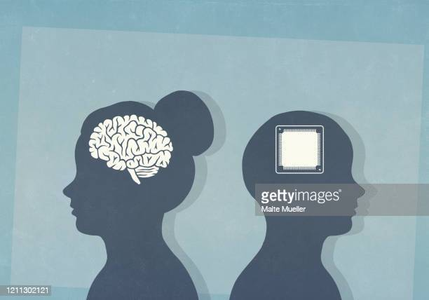 brain and computer chip in silhouetted heads - human internal organ stock illustrations