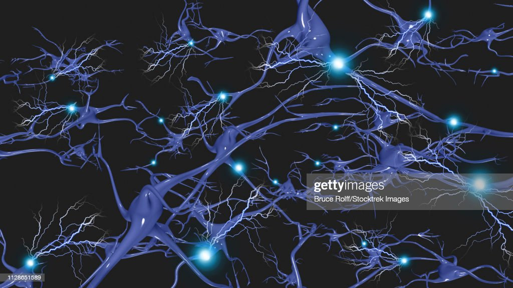 Brain cells with electrical firing : stock illustration