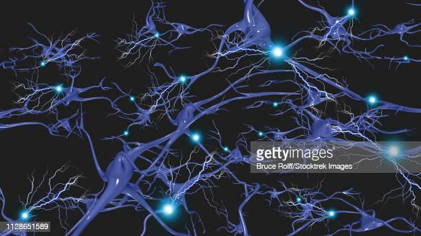 brain cells with electrical firing - receptor stock illustrations