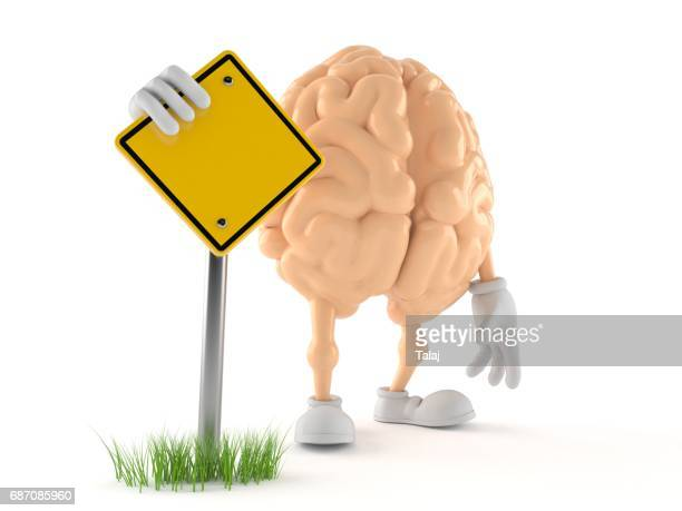 Brain character with blank road sign