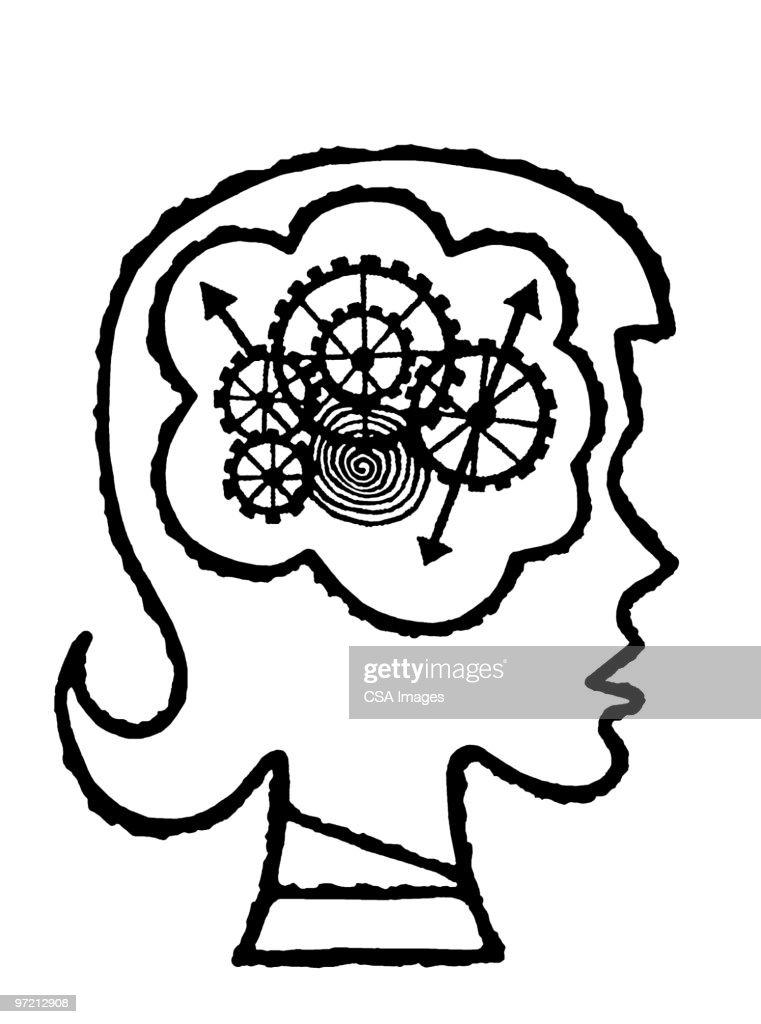 brain cogs : stock illustration