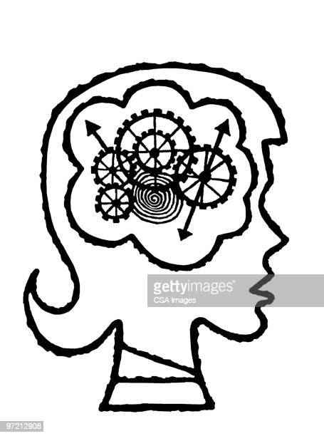 brain cogs - one girl only stock illustrations, clip art, cartoons, & icons