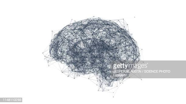 brain neural network, illustration - artificial intelligence stock illustrations