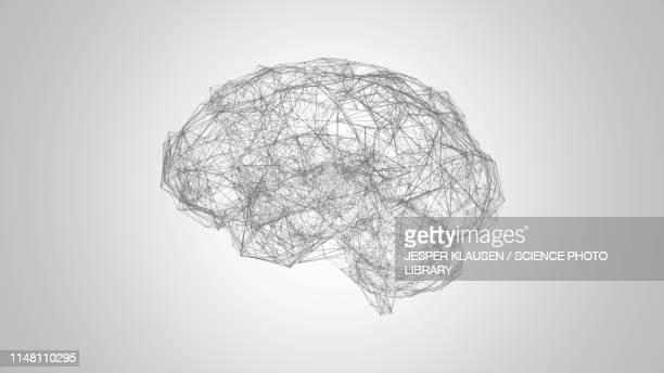 brain neural network, illustration - artificial neural network stock illustrations