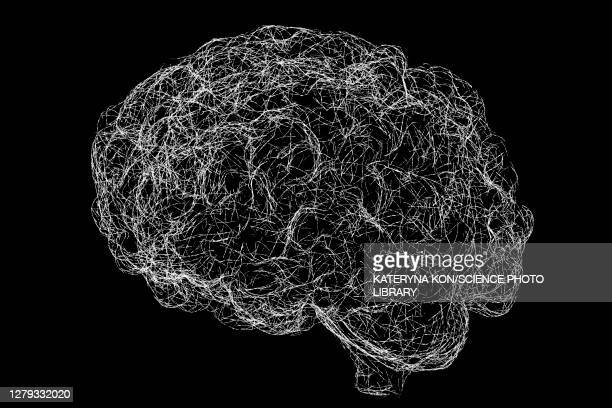 brain neural network, illustration - large group of objects stock illustrations
