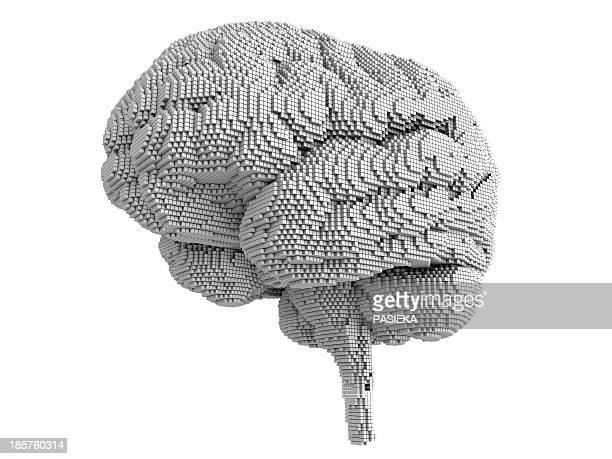 stockillustraties, clipart, cartoons en iconen met brain pixelated, artwork - ziekte van alzheimer