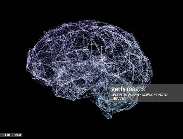 brain shaped network, illustration - artificial neural network stock illustrations