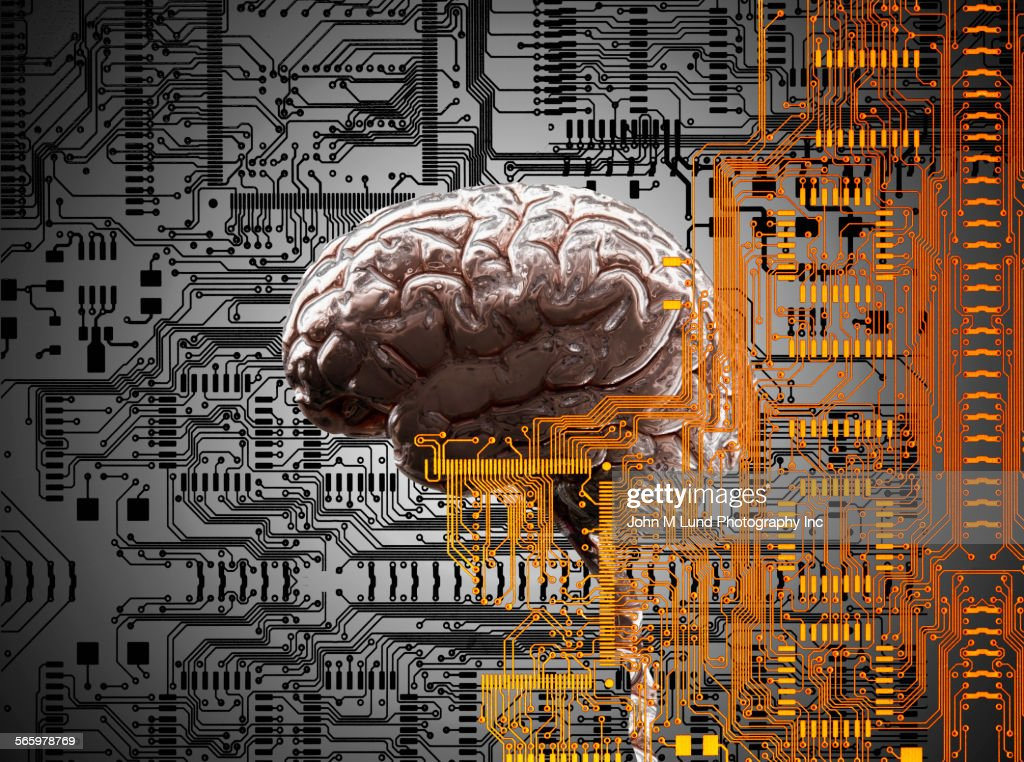 Brain under layers of circuit board,  : Stock Illustration