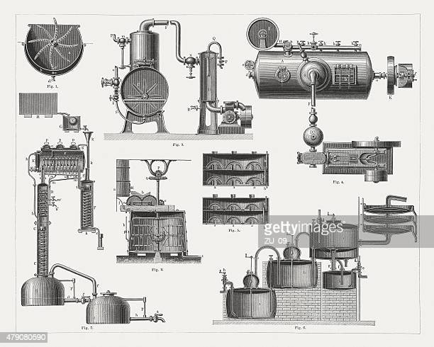brandy distillery, wood engravings, published in 1878 - brandy stock illustrations, clip art, cartoons, & icons