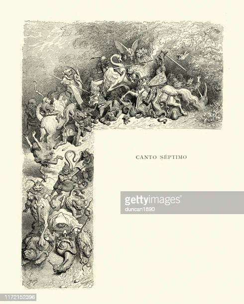 brave knight fighting army of goblins and monsters. orlando furioso - woodcut stock illustrations, clip art, cartoons, & icons