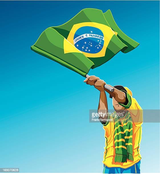 Brazil Waving Flag Soccer Fan