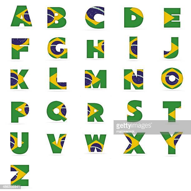 brazilian flag alphabet - pejft 幅插畫檔、美工圖案、卡通及圖標