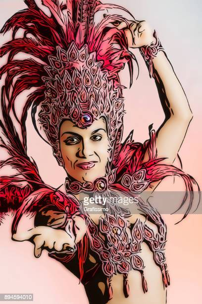 brazilian samba dancer in carnival costume - samba stock illustrations