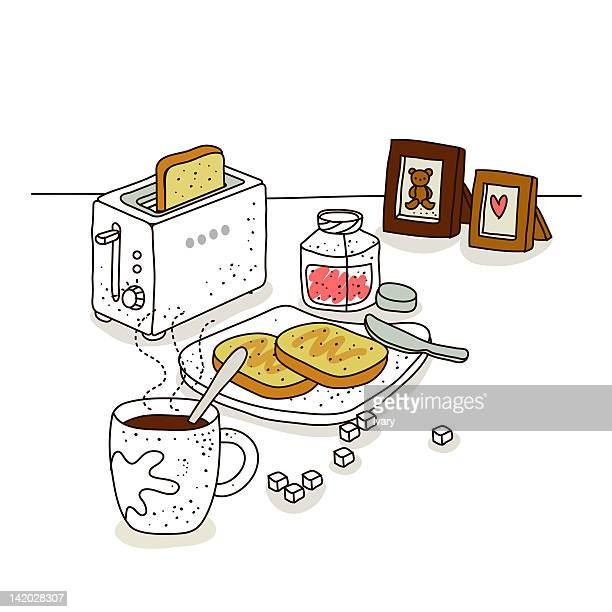 bread and coffee with toaster - toast bread stock illustrations, clip art, cartoons, & icons