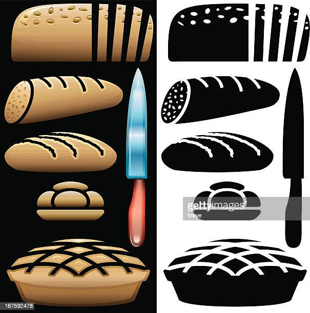 bread and kitchen knife icons - serving size stock illustrations, clip art, cartoons, & icons