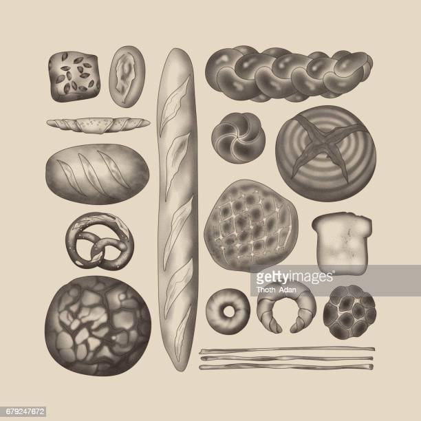 bread arrangement in sepia on beige background (stippling & knolling) - pastry dough stock illustrations, clip art, cartoons, & icons