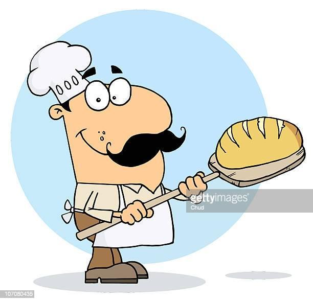 bread maker man - baker occupation stock illustrations
