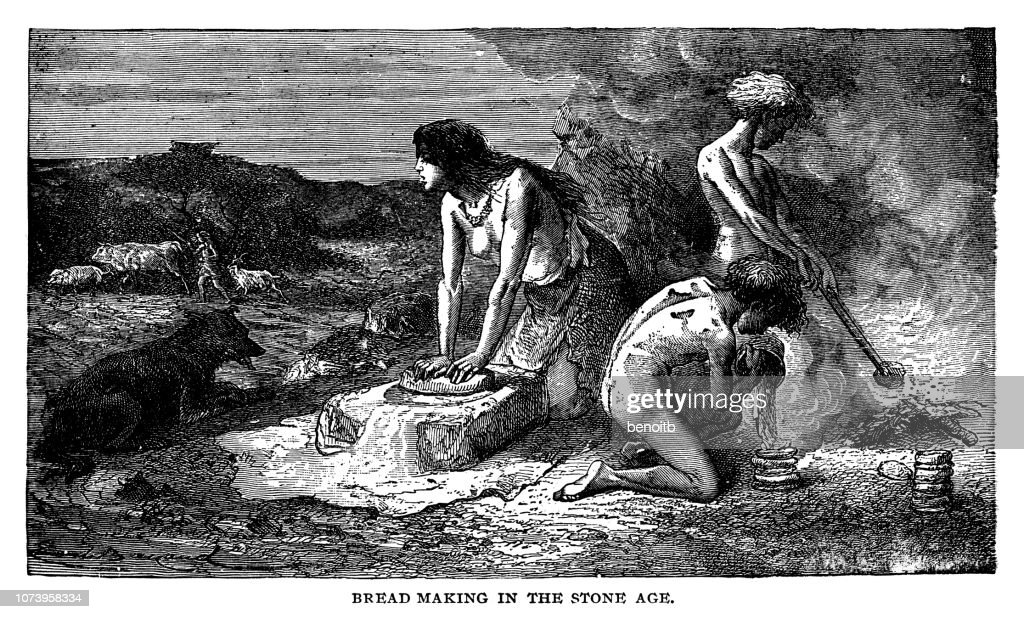 Bread making in the stone age : stock illustration