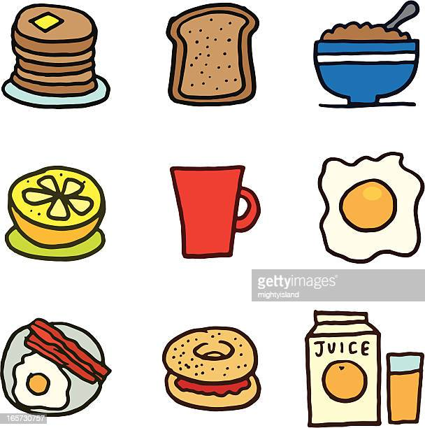 Breakfast and cereal icon set