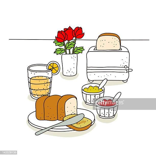 Breakfast food against toaster