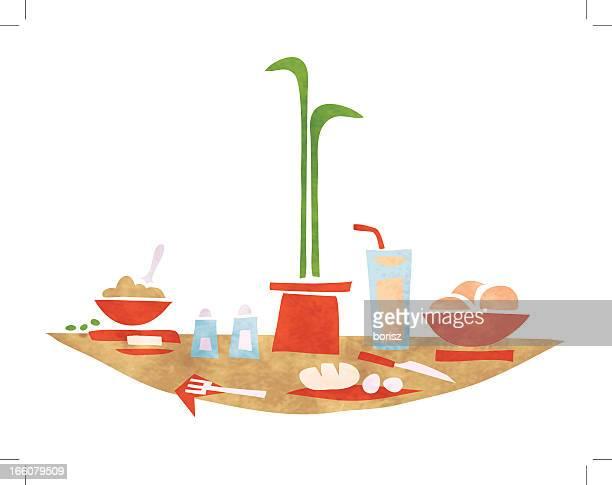 ilustrações de stock, clip art, desenhos animados e ícones de pequeno-almoço - mesa cafe da manha