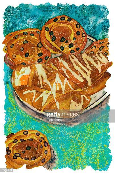 breakfast pastries - sweet bun stock illustrations, clip art, cartoons, & icons