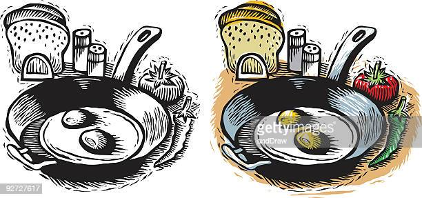 朝食ます。ポット、2 つの卵形のます。 - clip art点のイラスト素材/クリップアート素材/マンガ素材/アイコン素材