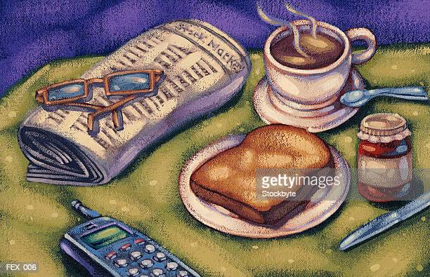 Breakfast table with cellular phone, newspaper, coffee and toast