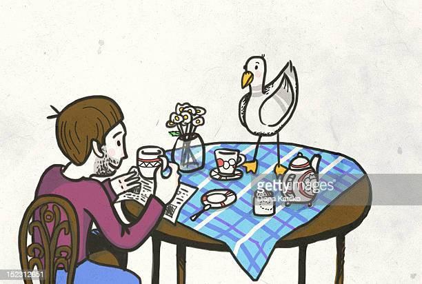 ilustraciones, imágenes clip art, dibujos animados e iconos de stock de breakfast with seagull - animal vertebrado