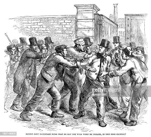 breaking the strike - industrial revolution stock illustrations