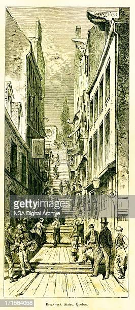 breakneck stairs, quebec, canada   historic american illustrations - village stock illustrations