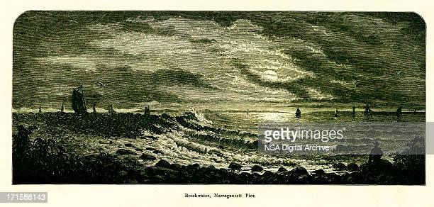 breakwater, narragansett pier, rhode island - village stock illustrations