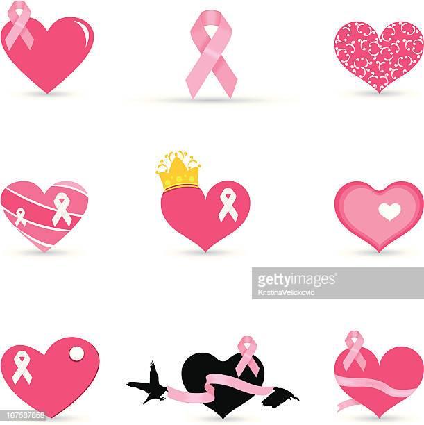 乳がんのリボン - マモグラフィー点のイラスト素材/クリップアート素材/マンガ素材/アイコン素材