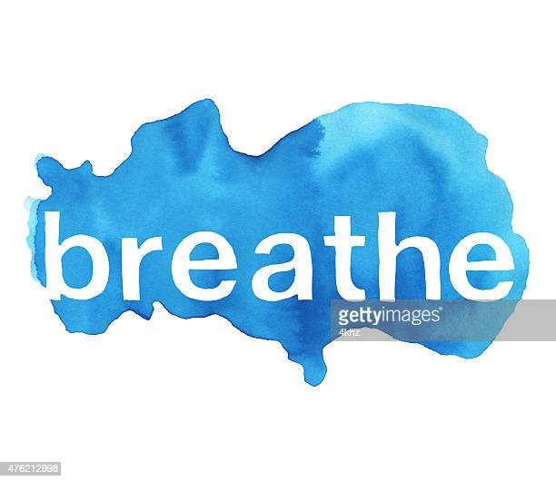breathe word over cloud blue watercolor texture background - inhaling stock illustrations