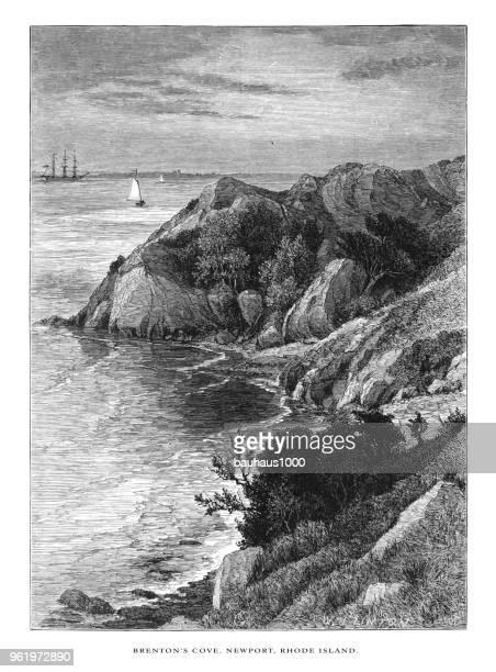 Brenton's Cove, Newport, Rhode Island, United States, American Victorian Engraving, 1872