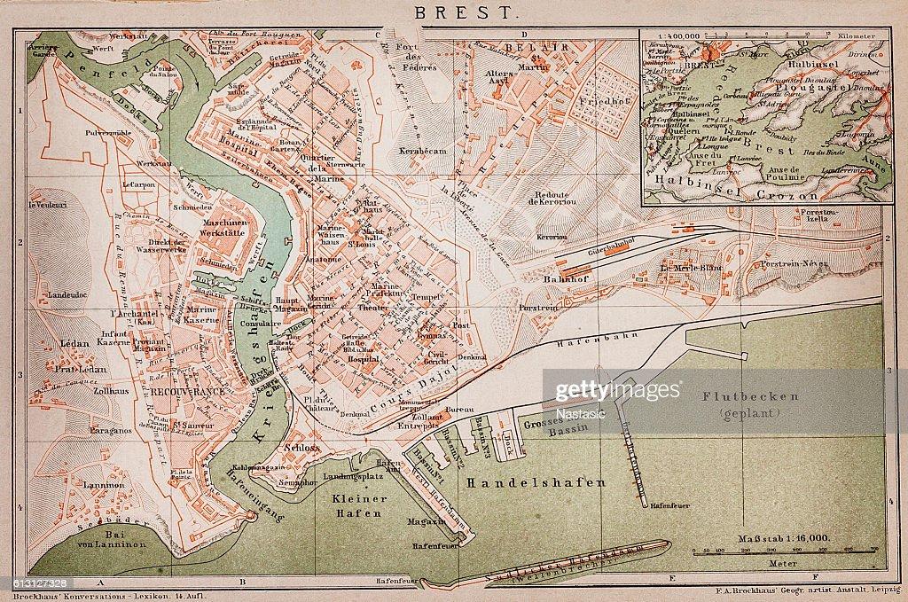 Brest France Map Stock Illustration Getty Images