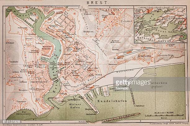 brest ,france map - brittany france stock illustrations, clip art, cartoons, & icons
