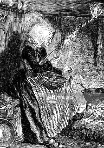 breton woman spinning yarn in her cottage - bonnet stock illustrations, clip art, cartoons, & icons